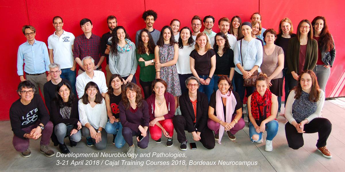 Group photo of Cajal Training Courses, April 2018, Bordeaux Neurocampus