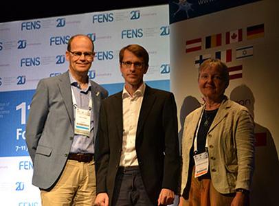 Eero Castren, Botond Roska and Marlies Dorlöchter at FENS Forum 2018