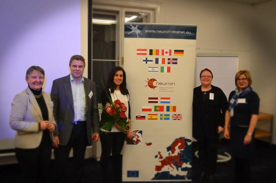 From left: NEURON coordinator Dr. Marlies Dorlöchter (DLR-PT, Germany), Dr. Erkki Raulo (AKA, Finland), awardee Dr. Anai Gonzalez Cordero ( London, UK), Dr. Anne-Cécile Desfaits (FRQS, Canada), and Dr. Hannele Lahtinen (AKA, Finland)