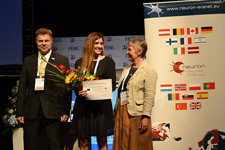 Erkki Raulo, EPNA Awardee 2017 Cristina García Cáceres and Marlies Dorlöchter; © ERA-NET NEURON