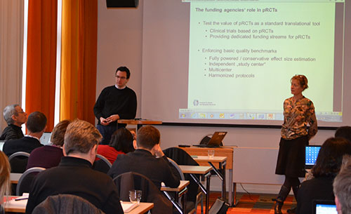 Speaker and audience at the Workshop on 'Quality assurance, and reproducibility of results', Oslo, January 2017